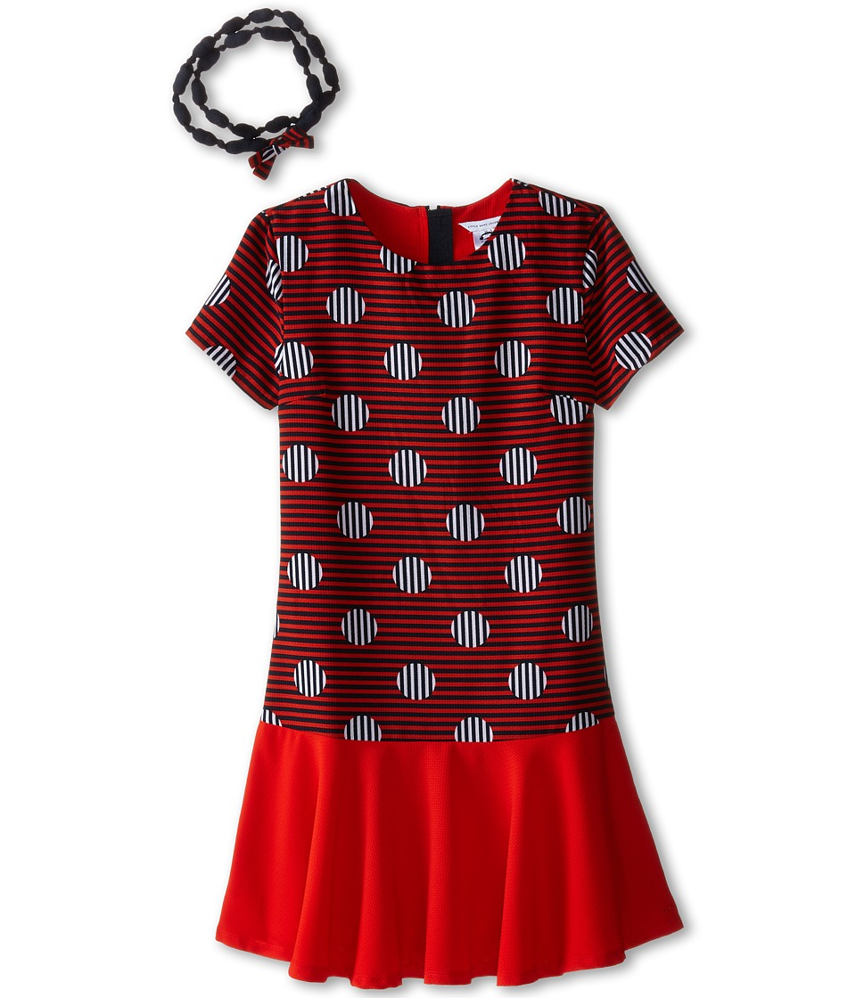 Little Marc Jacobs - Stripe and Dot Dress with Headband (Little Kids/Big Kids) (Redfire) Girl's Dress