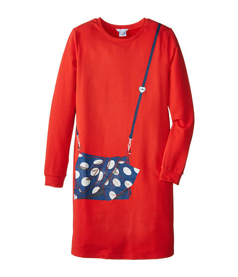Little Marc Jacobs - Long Sleeve Fleece Dress with Purse Illustration (Big Kids) (Redfire) Girl