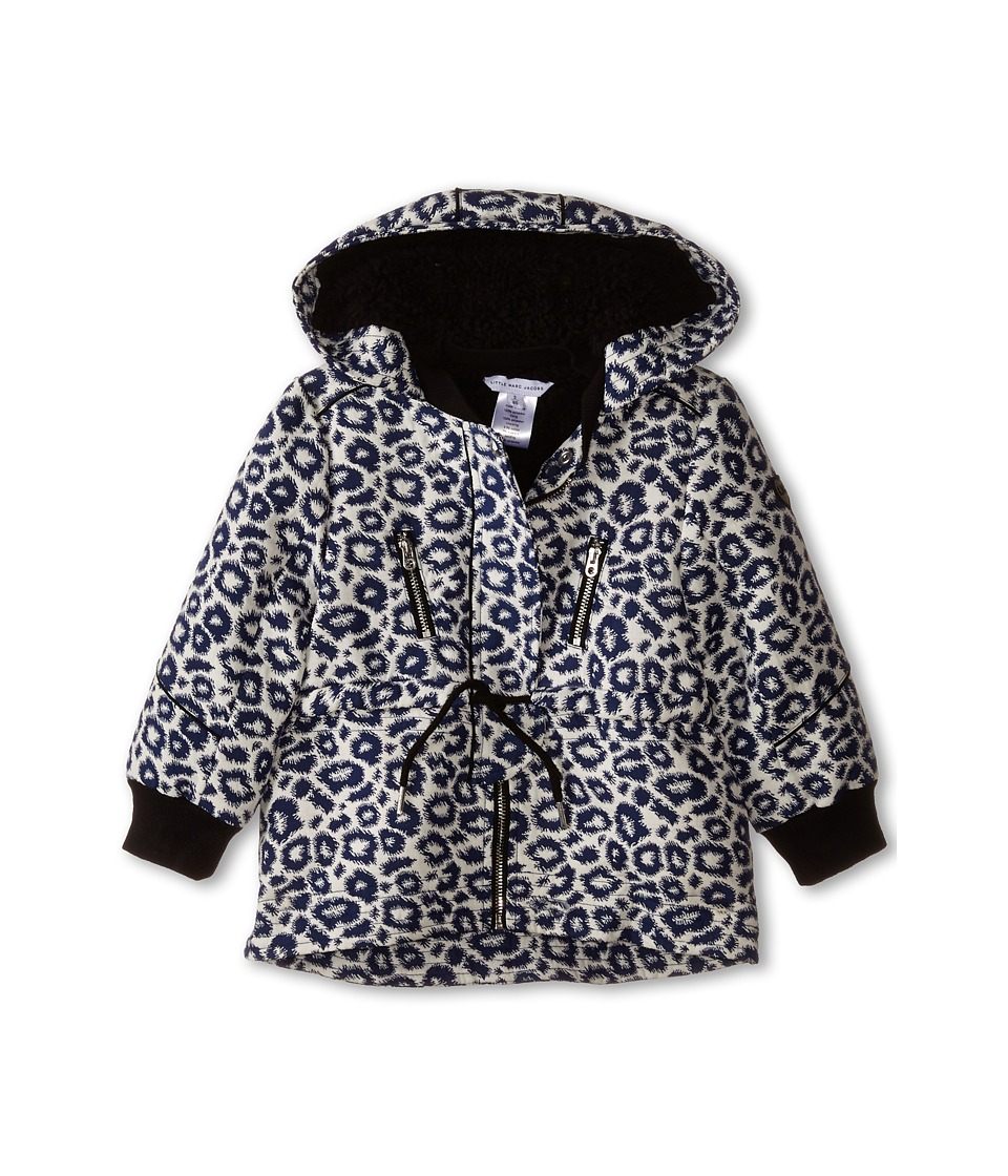 Little Marc Jacobs - Hooded Fake Fur Parka (Toddler/Little Kids) (Blanc-Marine) Girl's Coat