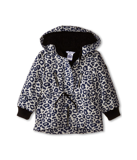 Little Marc Jacobs - Hooded Fake Fur Parka (Toddler/Little Kids) (Blanc-Marine) Girl