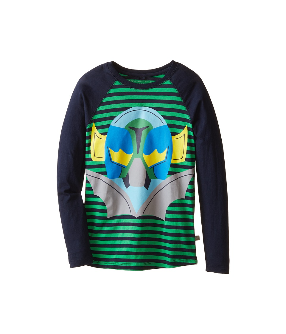 Stella McCartney Kids - Max Striped Superhero Raglan Tee (Toddler/Little Kids/Big Kids) (Navy/Green) Boy