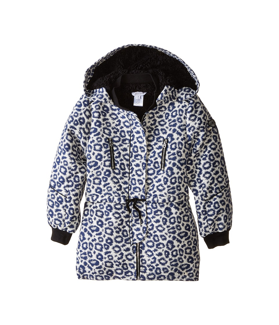 Little Marc Jacobs - Hooded Fake Fur Parka (Little Kids/Big Kids) (Blanc-Marine) Girl's Coat