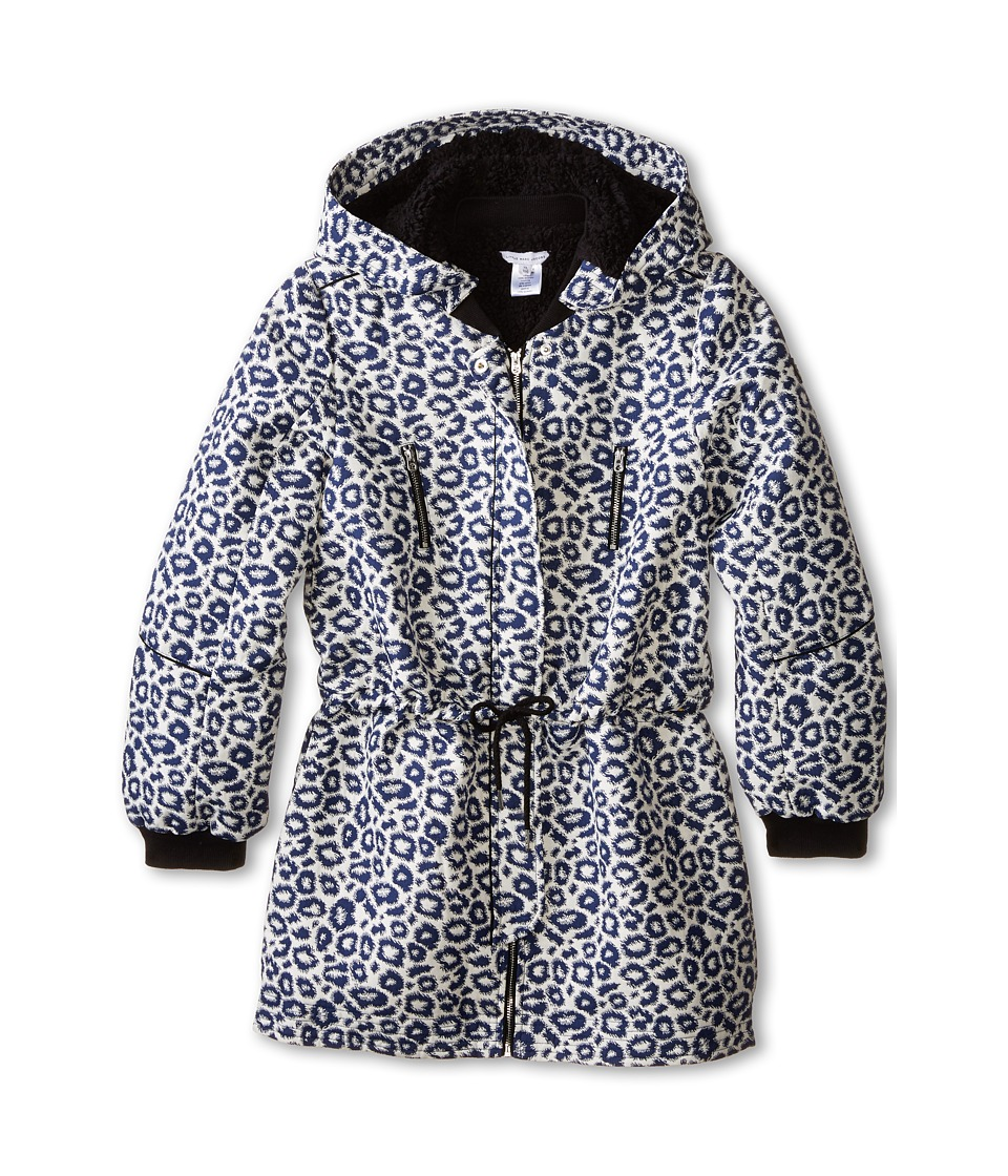 Little Marc Jacobs - Hooded Fake Fur Parka (Big Kids) (Blanc-Marine) Girl's Coat