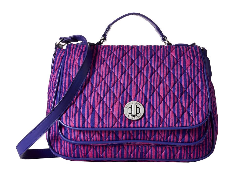 Vera Bradley - Turnlock Crossbody (Impressionista Stripe/Violet) Cross Body Handbags