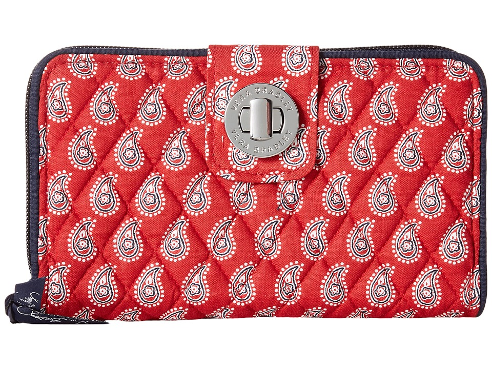 Vera Bradley - Turn Lock Wallet (Petite Red Bandana Paisley) Clutch Handbags