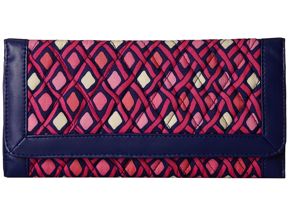 Vera Bradley - Trifold Wallet (Katalina Pink Diamonds/Navy) Wallet Handbags