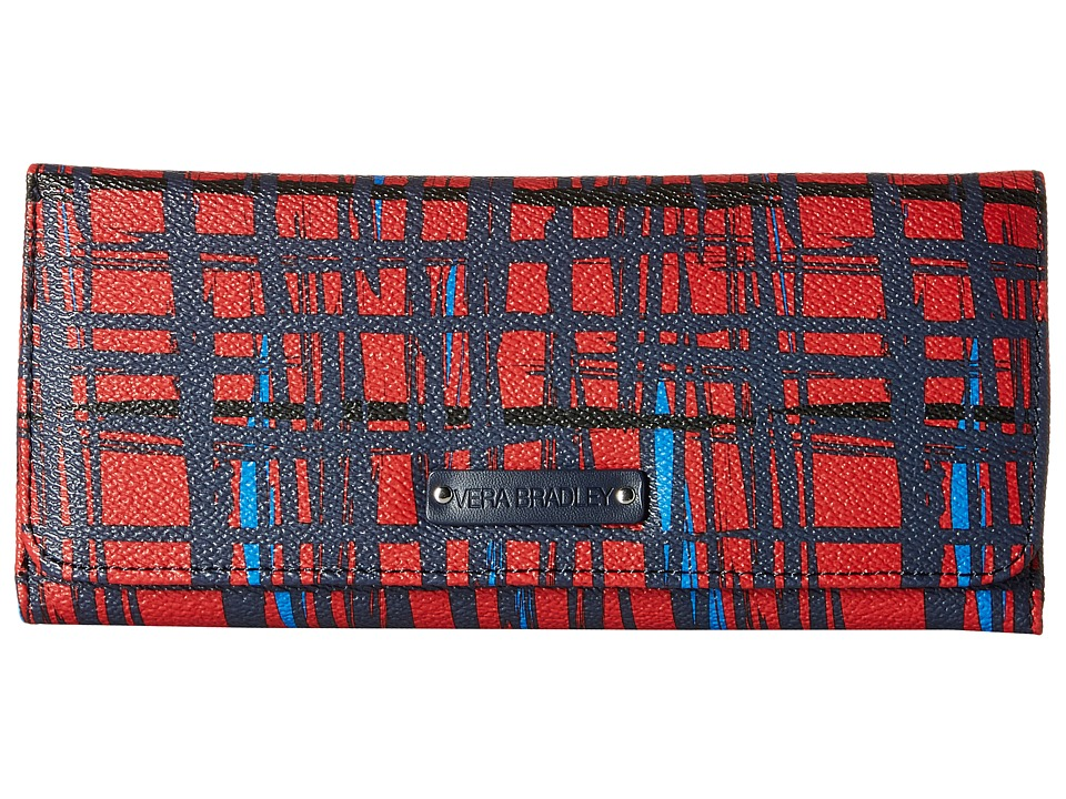Vera Bradley - Trifold Wallet (Navy/Red Art Plaid) Wallet Handbags