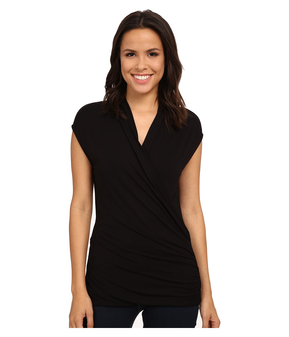 Adrianna Papell - Solid V-Neck Cap Sleeve Top (Black) Women's Sleeveless