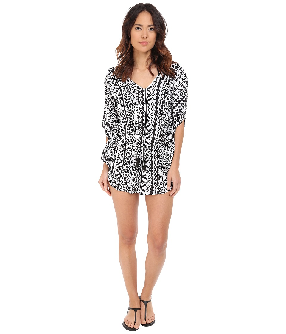 Seafolly - City Limits Playsuit Cover-Up (Black/White) Women's Swimwear