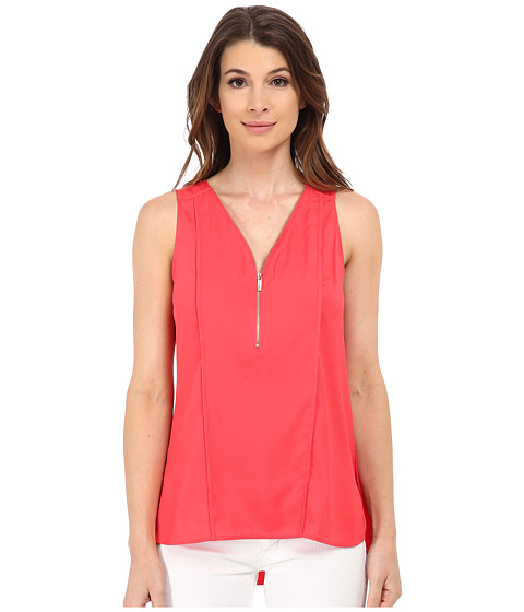 Calvin Klein - Half Zip Flanged Tank Top (Watermelon) Women