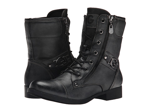 G by GUESS - Bates (PU/Black) Women's Lace-up Boots