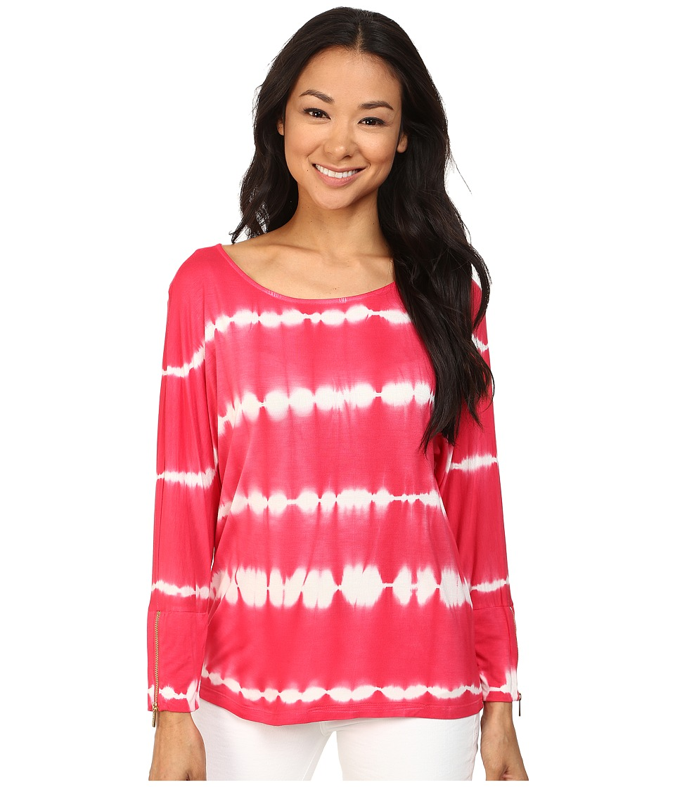 Calvin Klein - Tie-Dye Dolman Top w/ Zips (Watermelon) Women's Clothing