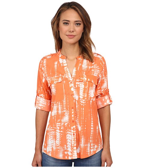 Calvin Klein - Printed Roll Sleeve Top (Ember Multi) Women's Clothing