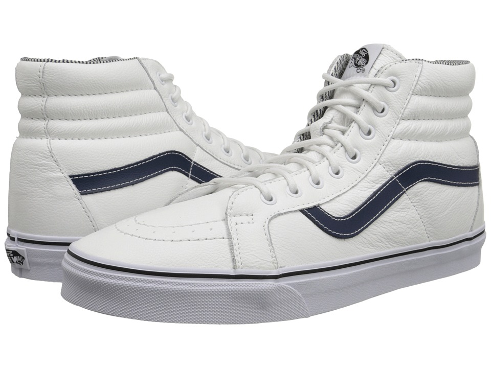 Vans - SK8-Hi Reissue ((Leather) White/Stripes) Skate Shoes