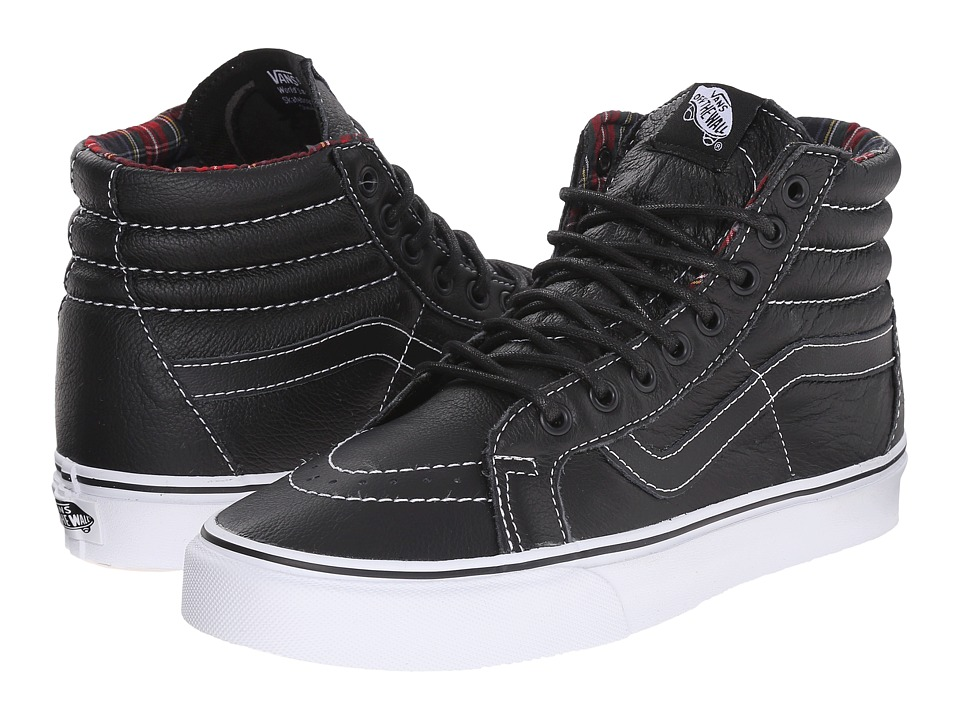 Vans - SK8-Hi Reissue ((Leather) Black/Plaid) Skate Shoes