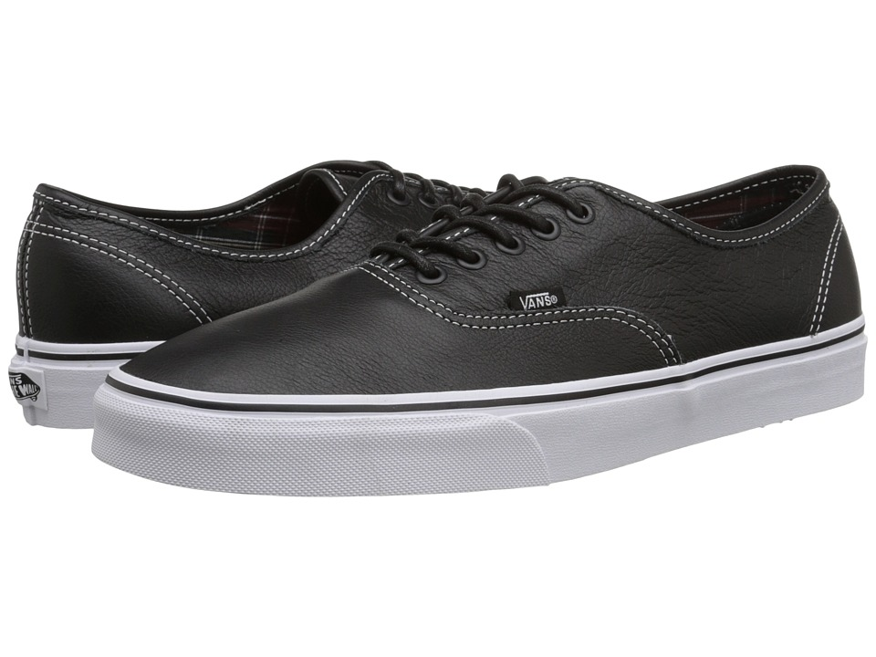 Vans Authentic ((Leather) Black/Plaid) Skate Shoes