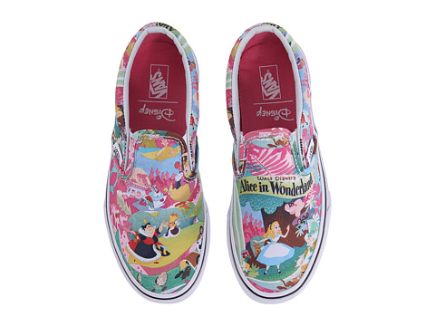 Vans Kids - Disney Classic Slip-On (Little Kid/Big Kid) ((Disney) Wonderland Pink) Girls Shoes