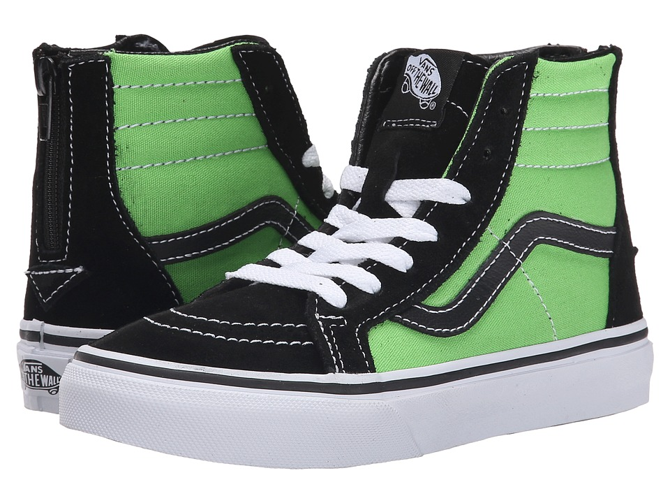 Vans Kids - SK8 Hi Zip (Little Kid/Big Kid) (Black/Green Flash) Boys Shoes