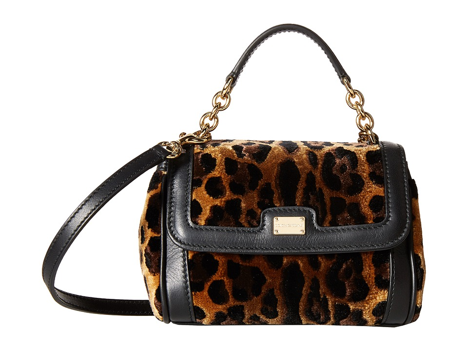 Dolce & Gabbana - City Leopard Print Mini Handbag (Little Kids/Big Kids) (Beige/Black) Handbags