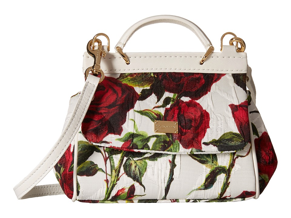 Dolce & Gabbana - Ceremony Rose Print Mini Handbag (Little Kids/Big Kids) (White/Rose Print) Cross Body Handbags