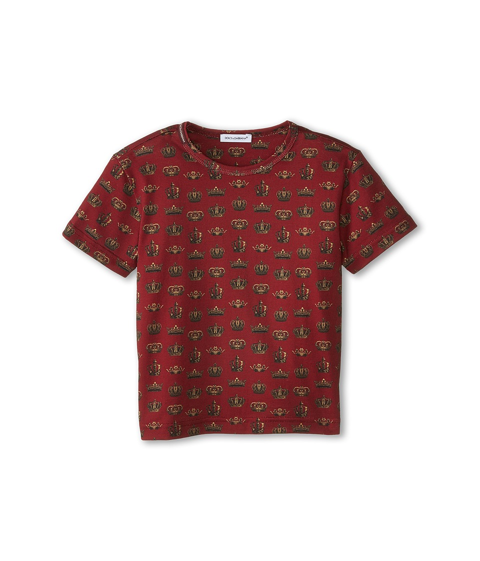 Dolce & Gabbana - Crown Print Short Sleeve T-Shirt (Toddler/Little Kids) (Red/Gold Print) Men's T Shirt