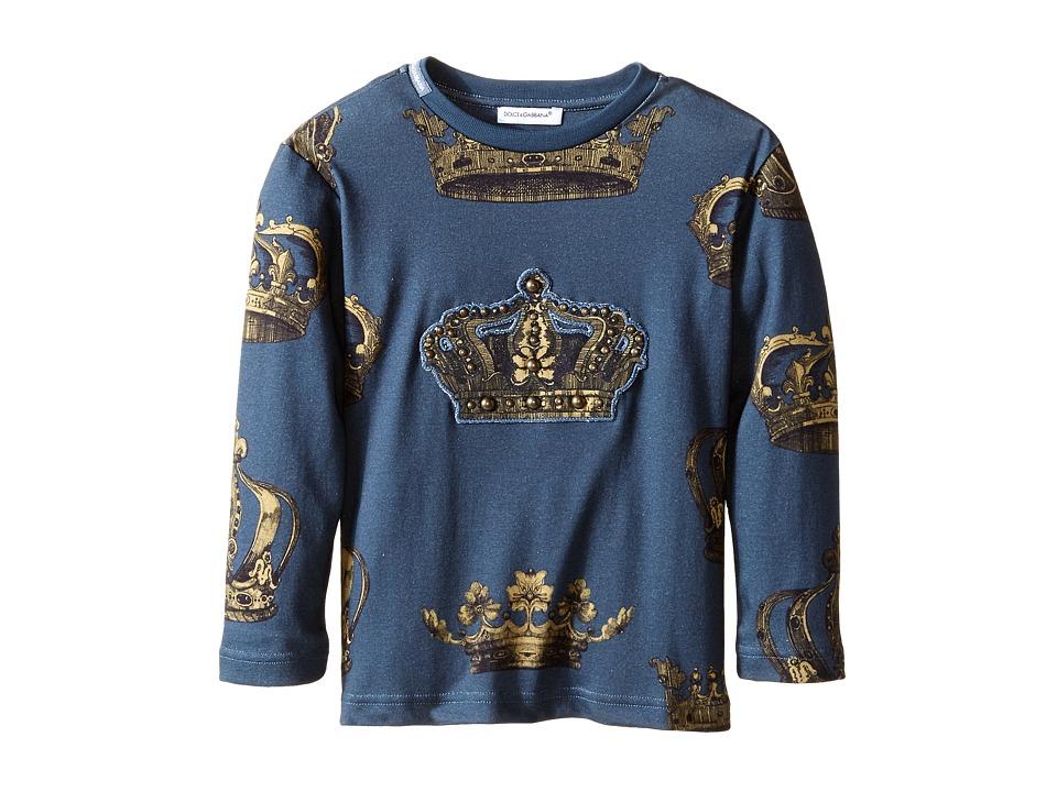 Dolce & Gabbana - Crown Print Long Sleeve T-Shirt (Toddler/Little Kids) (Green/Crown Print) Men's T Shirt