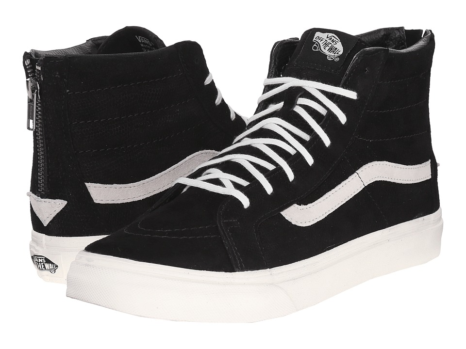 Vans - SK8-Hi Slim Zip ((Lizard Emboss) Black/Blanc de Blanc) Skate Shoes