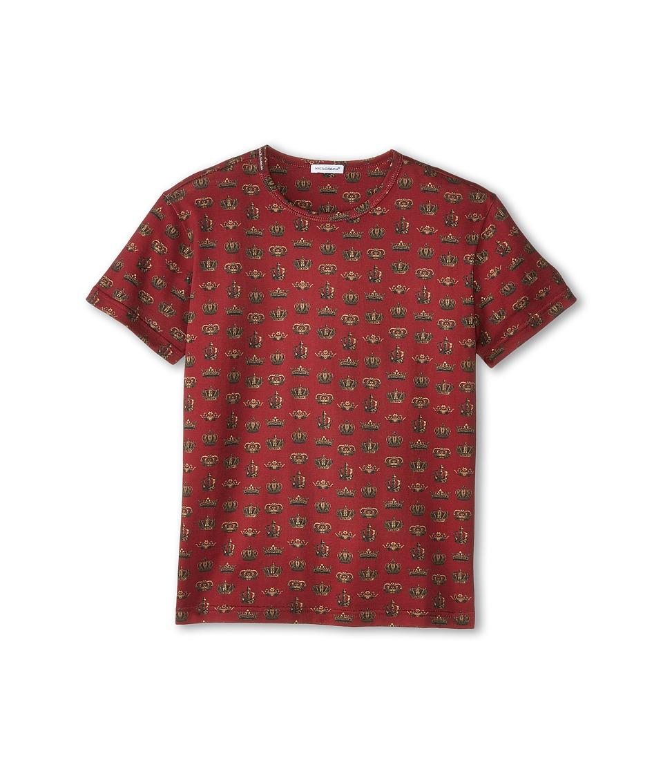 Dolce & Gabbana Kids - Crown Print Short Sleeve T-Shirt (Big Kids) (Red/Gold Print) Boy's T Shirt