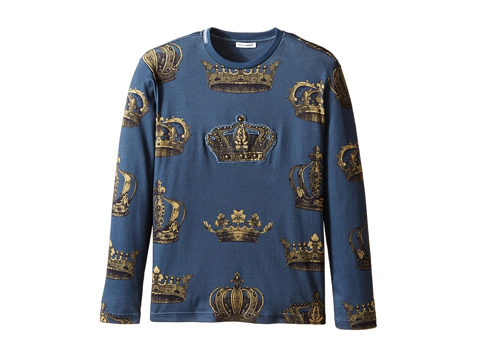 Dolce & Gabbana - Crown Print Long Sleeve T-Shirt (Big Kids) (Green/Crown Print) Men