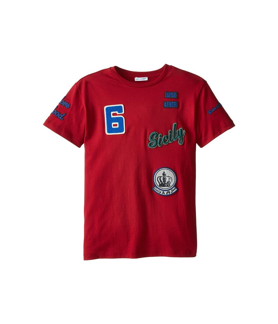 Dolce & Gabbana Kids - Embroidered Short Sleeve Baseball T-Shirt (Big Kids) (Bordeaux) Boy's T Shirt