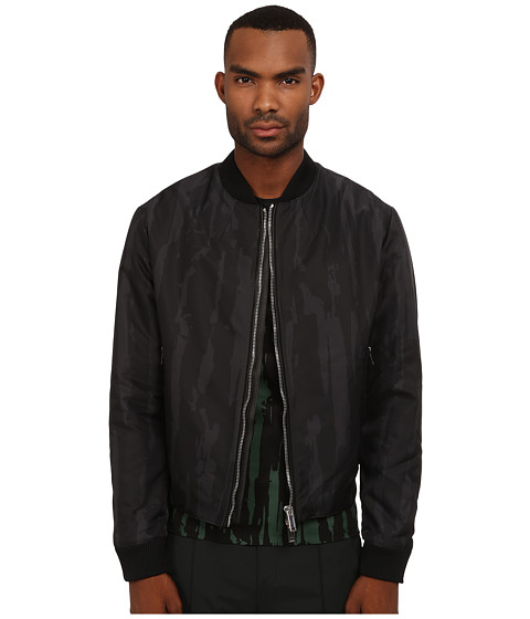 CoSTUME NATIONAL - Woven Bomber Jacket (Grigio/Nero) Men's Coat