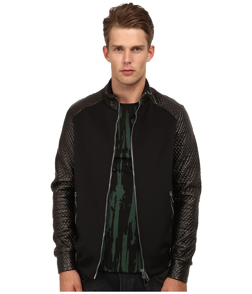 CoSTUME NATIONAL - Diamond Weave Track Jacket (Nero) Men's Coat