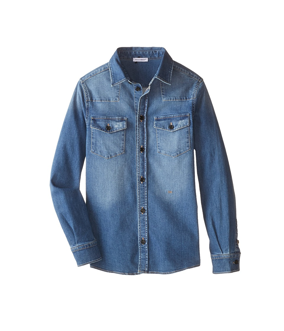 Dolce & Gabbana - Denim Western Shirt (Big Kids) (Blue/Denim) Men