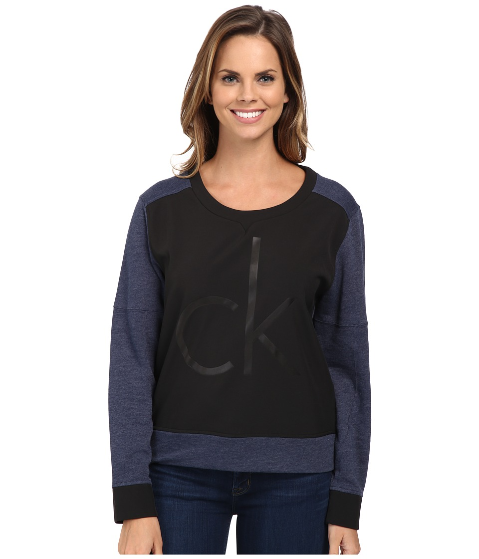Calvin Klein Jeans - Bonded Logo Crew Neck Sweatshirt (Blue Cap Heather) Women's Sweatshirt