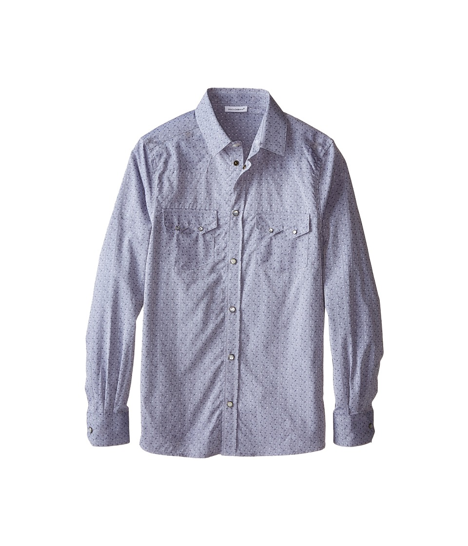Dolce & Gabbana Kids - Western Shirt (Big Kids) (Grey/Jacquard) Boy's Long Sleeve Button Up