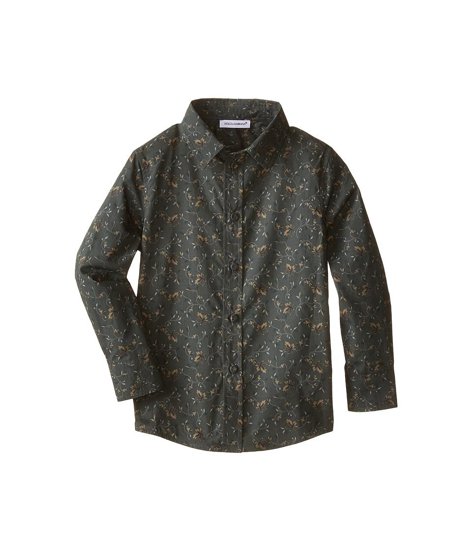 Dolce & Gabbana Kids - Crown Print Shirt (Toddler/Little Kids) (Charcoal/Green Print) Boy's Long Sleeve Button Up