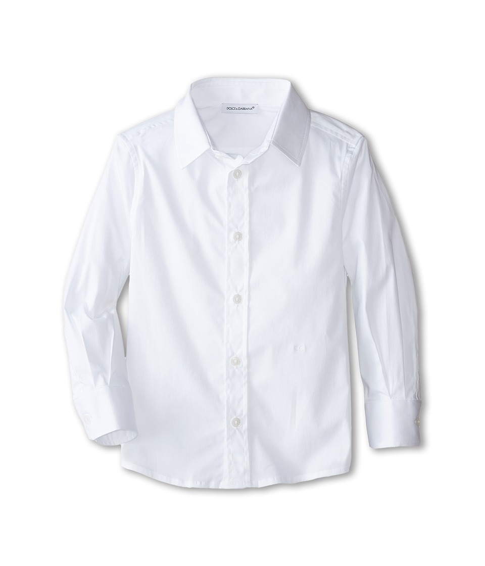 Dolce & Gabbana Kids - Basic Long Sleeve Button Up (Toddler/Little Kids) (Optical White) Boy's Long Sleeve Button Up