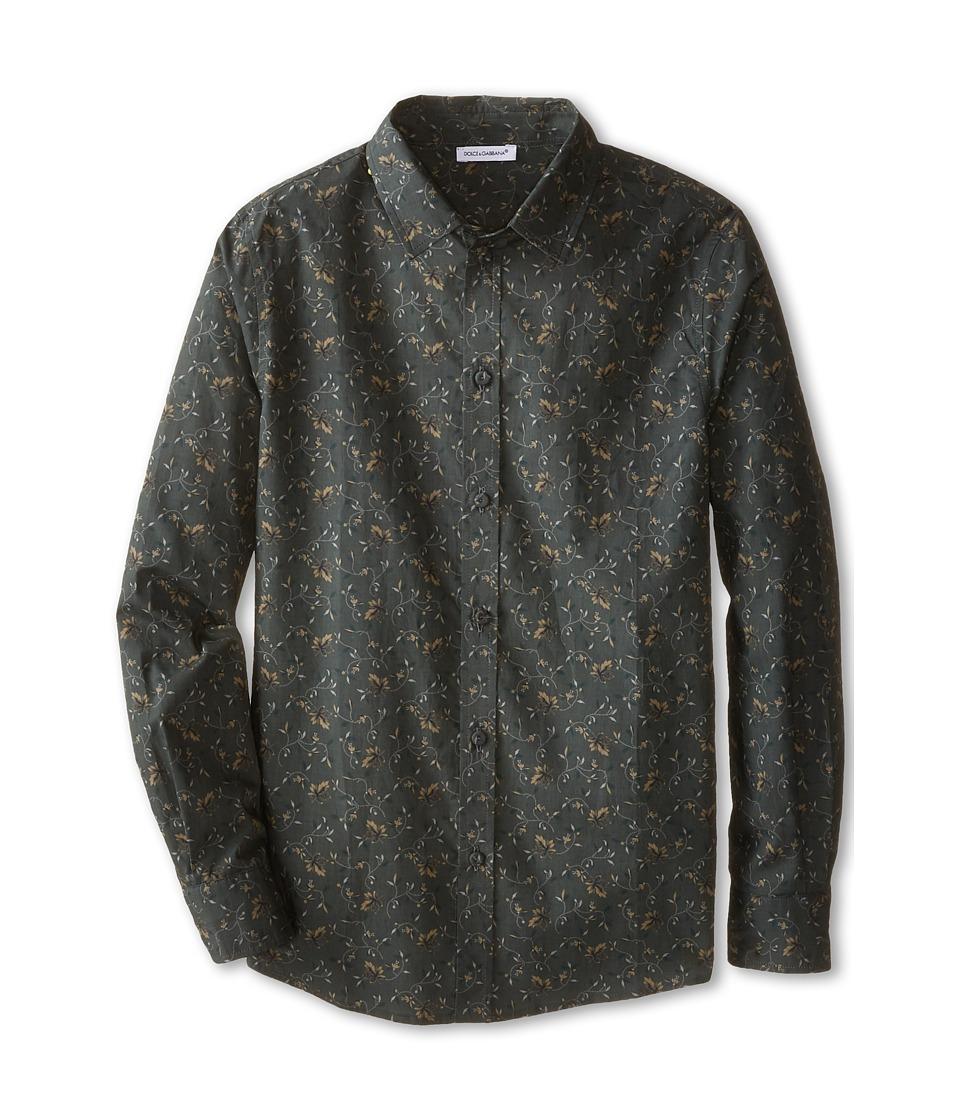 Dolce & Gabbana - Crown Print Shirt (Big Kids) (Charcoal/Green Print) Men