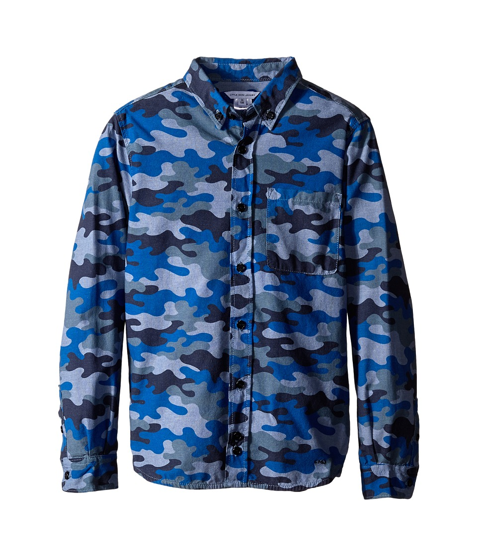 Little Marc Jacobs - Chambray Camoflage Shirt (Little Kids/Big Kids) (Denim Blue) Boy's Long Sleeve Button Up