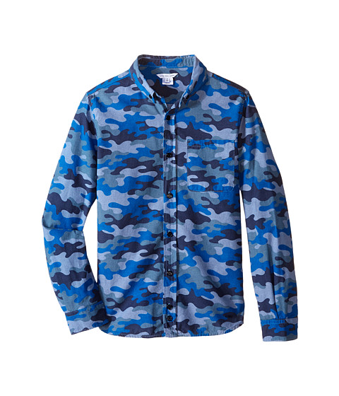 Little Marc Jacobs - Chambray Camoflage Shirt (Big Kids) (Denim Blue) Boy's Long Sleeve Button Up