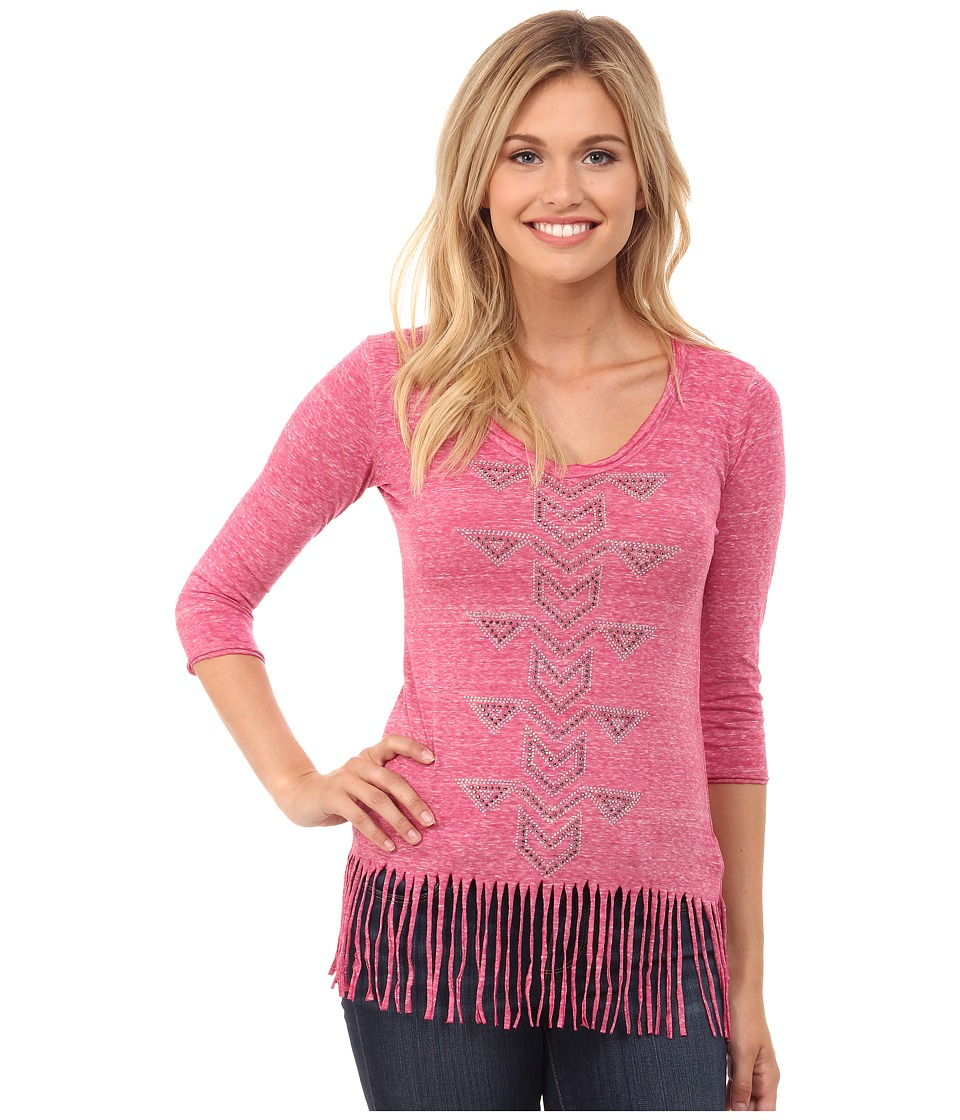 Rock and Roll Cowgirl - 3/4 Sleeve Knit 48T4296 (Fuchsia) Women's Clothing