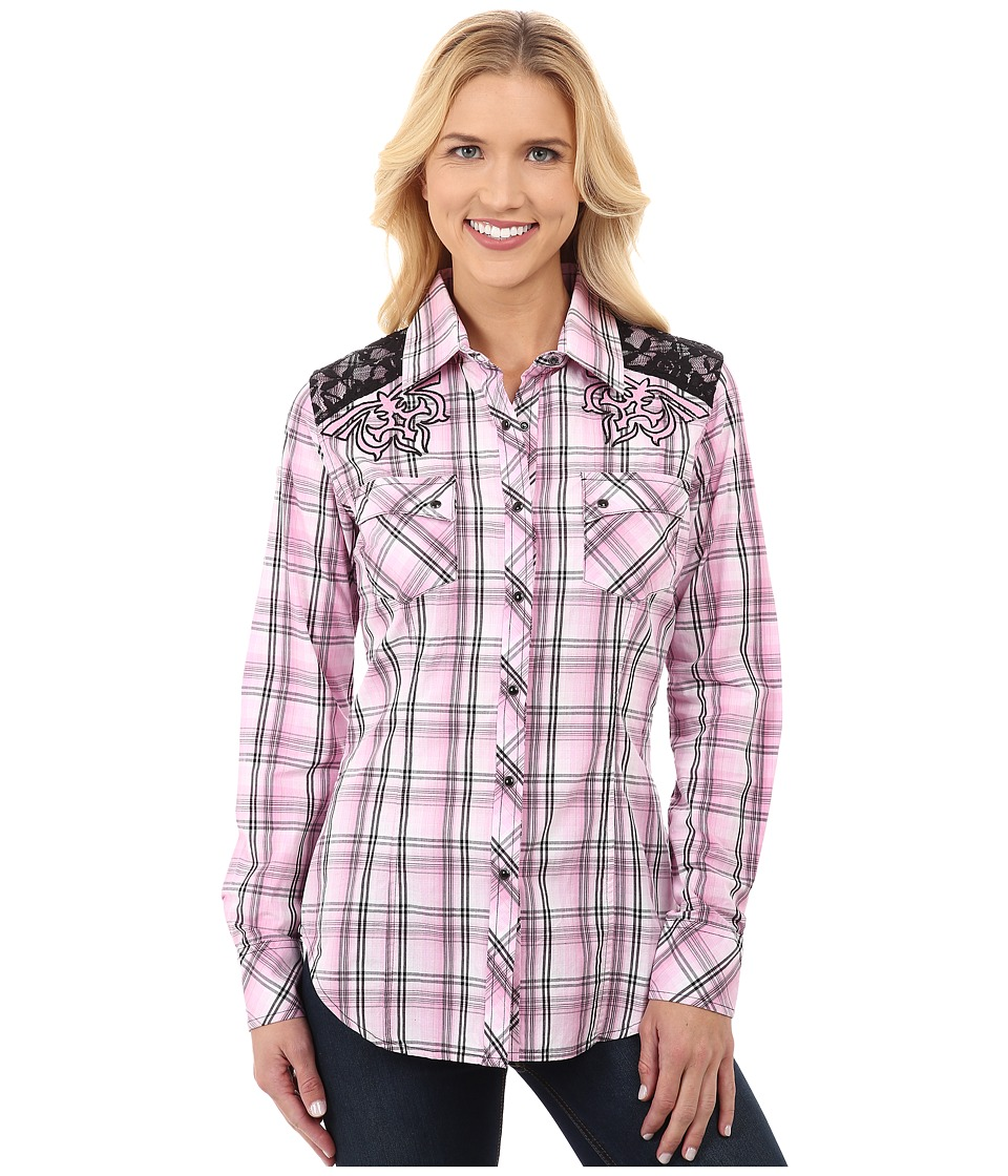 Rock and Roll Cowgirl - Long Sleeve Snap B4S3782 (Pink) Women's Clothing