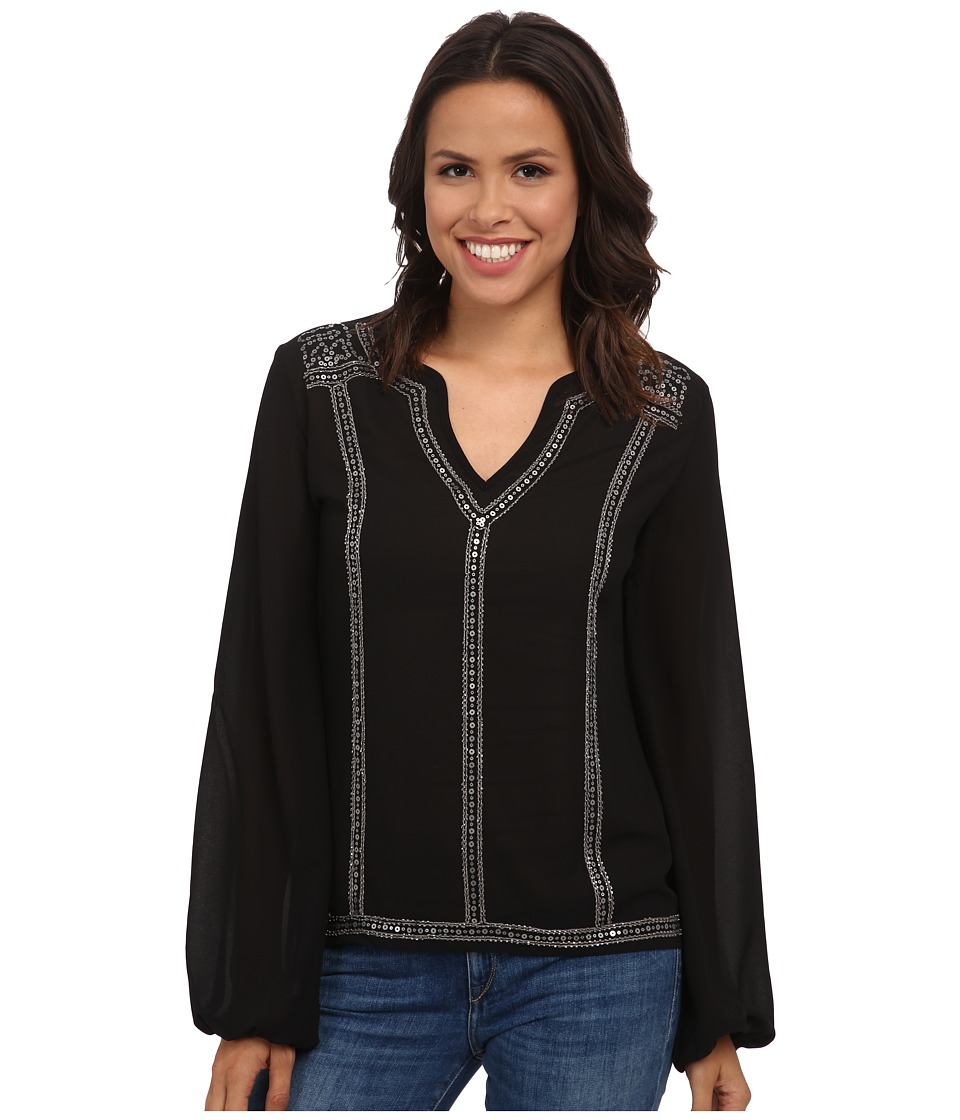 Rock and Roll Cowgirl - Long Sleeve Top B4-4461 (Black) Women's Clothing