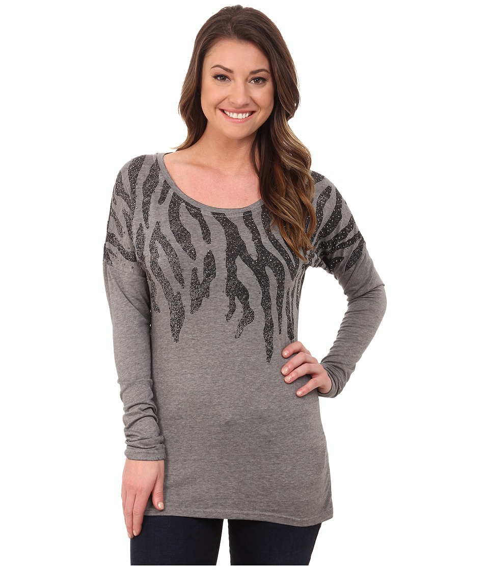 Rock and Roll Cowgirl - 3/4 Sleeve Knit 48-4261 (Ash Grey) Women's Clothing