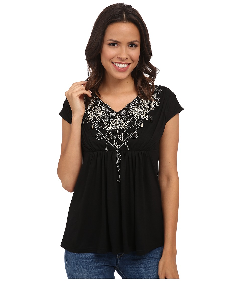 Rock and Roll Cowgirl - Short Sleeve Top 47-4653 (Black) Women's Clothing