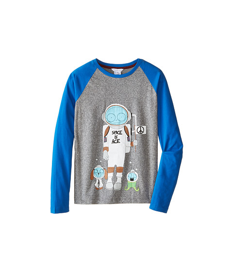 Little Marc Jacobs - Long Sleeve Mr Marc Raglan Tee (Big Kids) (Grey/Blue) Boy