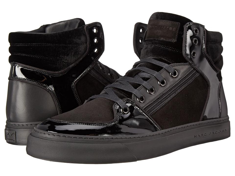 Marc Jacobs - Mixed Leather Hi-Top Sneaker (Black) Men's Shoes