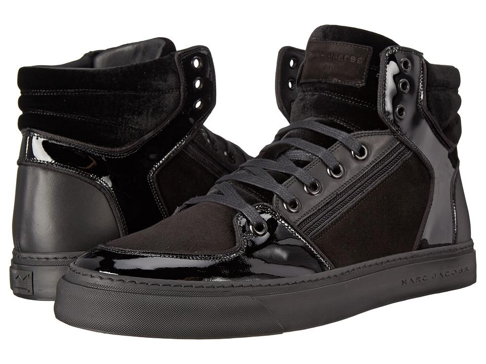 Marc Jacobs - Mixed Leather Hi-Top Sneaker (Black) Men's Shoes
