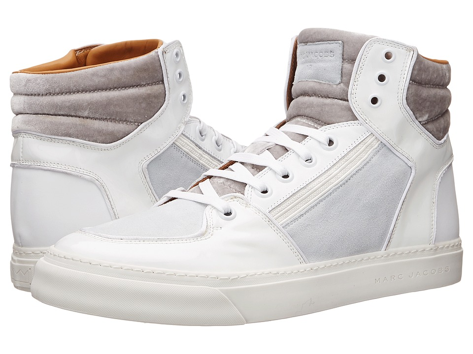 Marc Jacobs - Mixed Leather Hi-Top Sneaker (White) Men