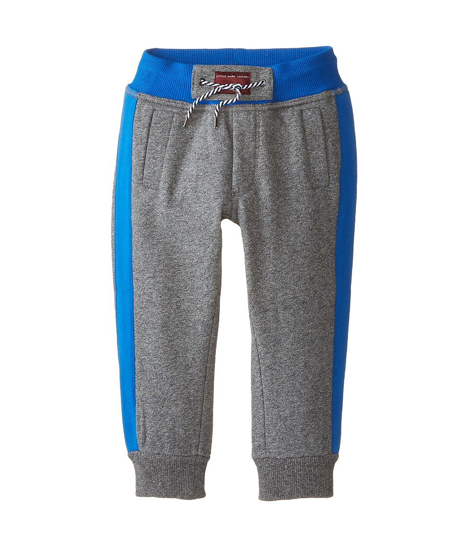 Little Marc Jacobs - Banded Bottom Bicolored Sweatpants (Toddler/Little Kids) (Grey Blue) Boy's Casual Pants